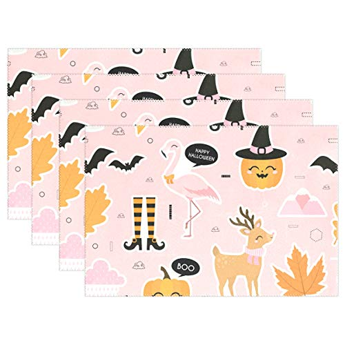 OREZI Flamingo Celeb Halloween Set of 6 Washable Dining Table Mats Non-Slip Heat-Resistant Christmas Decoration Gifts for Home,Kitchen,Office and Outdoor -