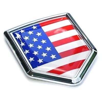 USA Flag Car Chrome Emblem Badge Decal 3D auto Bumper Sticker American: Automotive