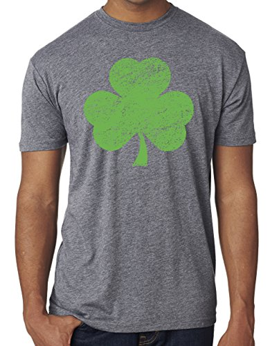 SoRock Men's St. Patrick's Day Distressed Shamrock Tri Blend Tshirt XXLarge Grey (St Pats T Shirts)