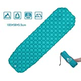 Air Sleeping Mattress by Hikenture with Pillow - Lightweight Compact Sleeping Pad- Ultralight & Self-Inflating Pads Camping Bedding - Mattress Camping for Camping, Tent, Travel & Hiking (Blue&Green)