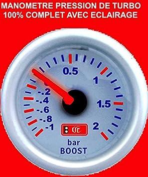 Amazon.es: Superbe manómetro presión Turbo fondo color blanco a Eclairage. Raid Preparation 4 x 4