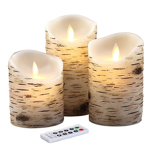 """Flameless Candles 4"""" 5"""" 6"""" Set of 3 Birch Bark Effect ..."""