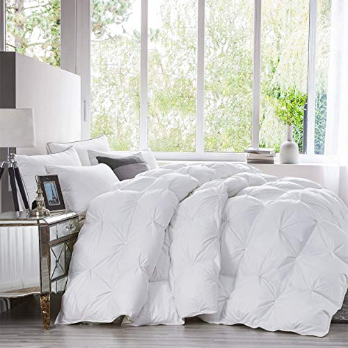 Luxurious Heavy King Size Goose Down Comforter Duvet Insert, Classic Pinch Pleat Style, 750+ Fill Power, 70 oz Fill Weight, 1200 Thread Count 100% Egyptian Cotton Shell (Pinch Pleat, King, White)