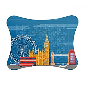 London Eye Double-Decker Buses Graffiti Paper Card Puzzle Frame Jigsaw Game Home Decoration Gift