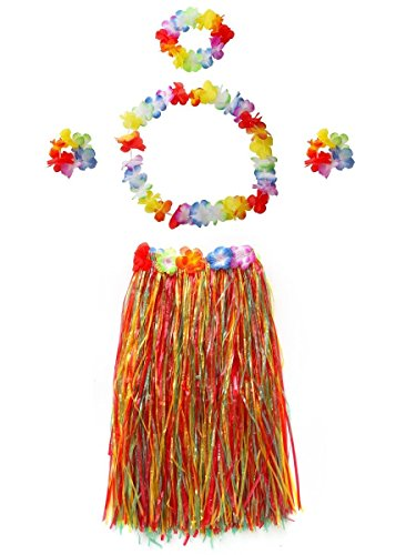 Hawaiian Hula Grass Skirts Dance Wears Set(Multicolor 80cm, 5pcs/Set)