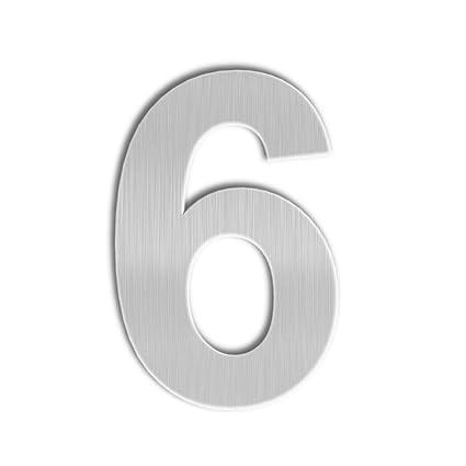 QT Número de Casa Moderna - GRANDE 20 Centímetro - Acero Inoxidable Cepillado (Número 6 Sies / 9 Nueve), Aspecto Flotante, Fácil de instalar y ...