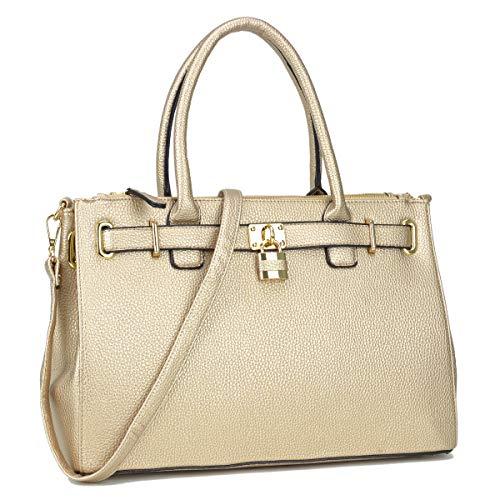 Handbags Gold Tote - Dasein Women's Top Handle Satchel Handbags Tote Designer Purse Padlock Shoulder Bag
