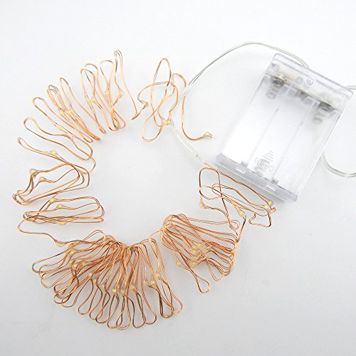 E-Age Copper Wire AA Battery Powered Starry Lights Fairy Lights Copper LED Lights Strings Ultra Thin String Wire (Warm White, 5m 50 led)