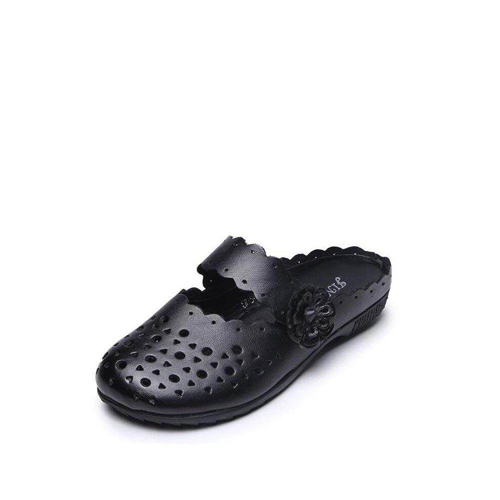 fbc704d8599c8e des chaussures en cuir en 2018 2018 2018 new style national féminin à fond  plat occasionnel baotou pantoufles chaus sures de femmes été ...