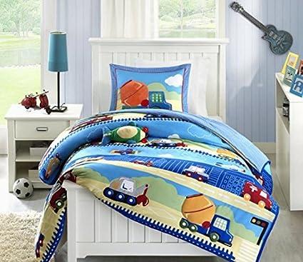 amazon com 3pc boys truck themed comforter twin set sky blue