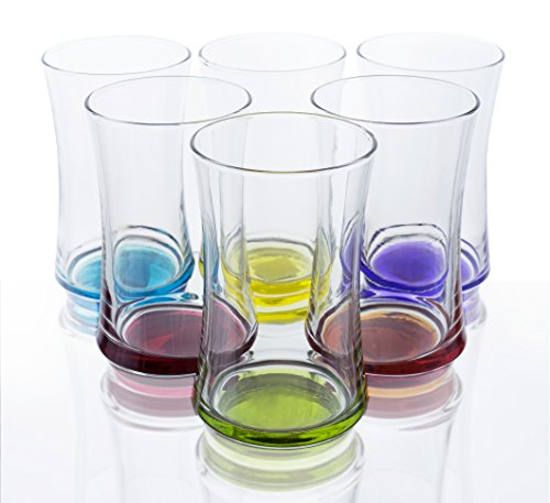 Multi-Colored 11.75 oz Highball Glasses - Set of 6, Bulk packaging (Colored Glasses Drinking compare prices)