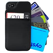 Slim Leather Wallet Case for iPhone 4/4S in Black - Holds up to 8 cards