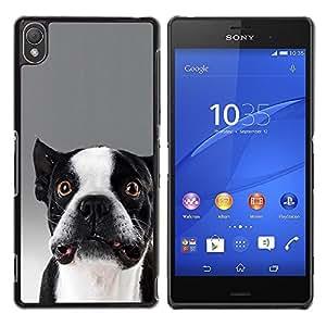 Be Good Phone Accessory // Dura Cáscara cubierta Protectora Caso Carcasa Funda de Protección para Sony Xperia Z3 D6603 / D6633 / D6643 / D6653 / D6616 // Funny Cute Dog Bulldog