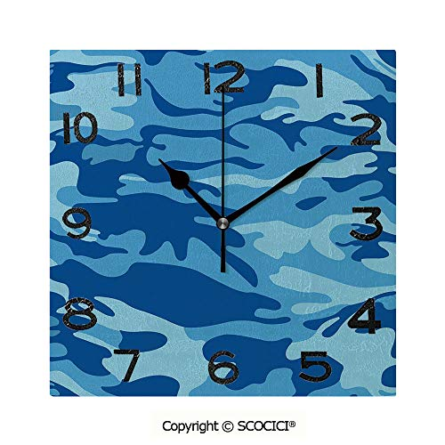 SCOCICI Frameless Clock 3D DIY Decorative Clock Abstract Camo Navy Military Costume Concealment from The Enemy Hiding 8 Inch Large Size Square Wall Clock for Living Room Bedroom Office -