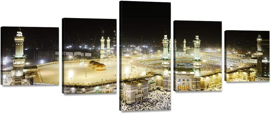 """5 Piece Wall Art Mecca Holy Mosque Canvas Painting Islamic Holy Place Picture Poster Print Home Decoration Artwork for Living Room Bedroom Office Stretched and Framed Ready to Hang (50""""Wx24""""H)"""