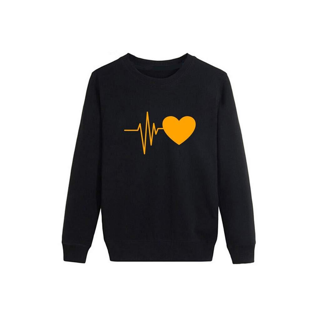 Womens Top! JSPOYOU Women Autumn Long Sleeve Heart Printed Tops Sweatshirt Pullover Casual Blouse