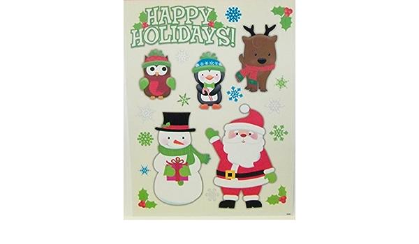 Static Window Clings Christmas Santa Owl Penguin Snowman New