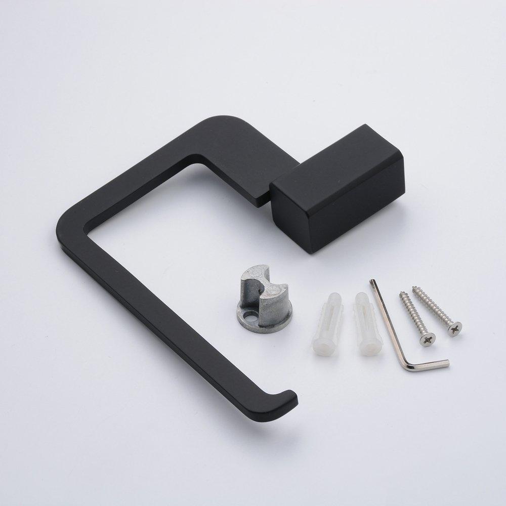 Portarrollos de papel higi/énico cuadrado negro con material met/álico Kelelie