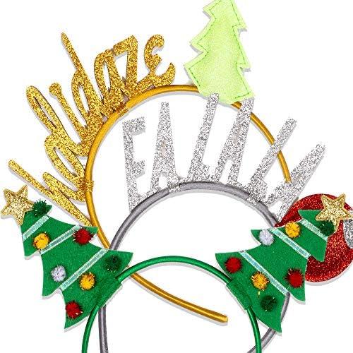 """Tri-Coastal Design – Set di 3 Cerchietti di Natale, Accessori Natalizi con Alberi di Natale, FA LA LA, e un Divertente""""Holidaze"""" Perfetto per le Feste (Xmas)"""