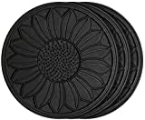 HF by LT Rubber Sunflower Garden Stepping Stone, 11-3/4'', Black, Set of 3