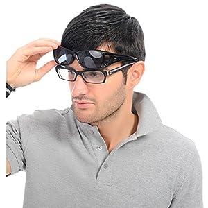 Duco Unisex HD Wraparound Prescription Glasses Polarized Sunglasses 8953 Common Size Black
