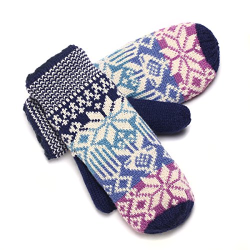 YAN & LEI Womens Knitted Mittens Gloves with Elastic Cuffs for Winter