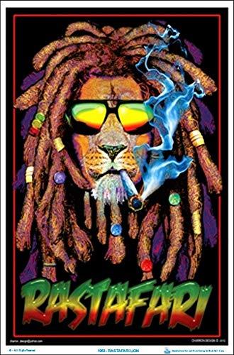 Rastafari Lion Blacklight Poster 24 x 36in