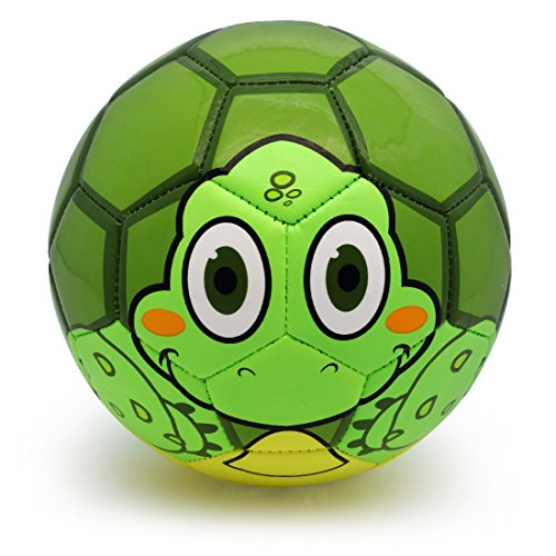 PP PICADOR Toddler Soft Soccer Ball Cute Cartoon Kids Ball Toy Gift with Pump (Green Turtle, Size 1)