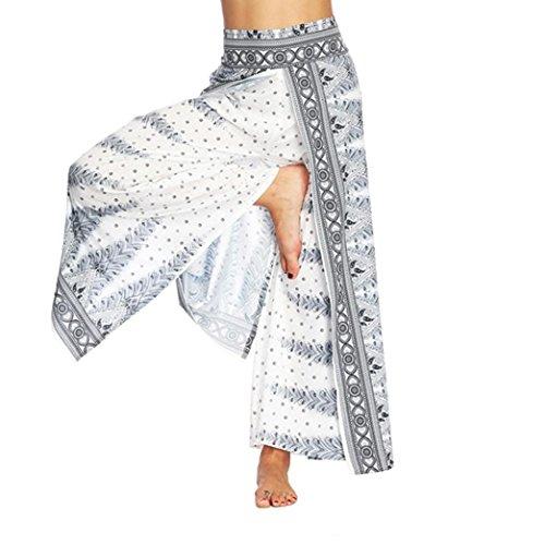 Yoga Palazzo Pantalone Dragon868 Bianco Pantaloni Vintage Larghi Donna 2018 Estate qYyUcU6