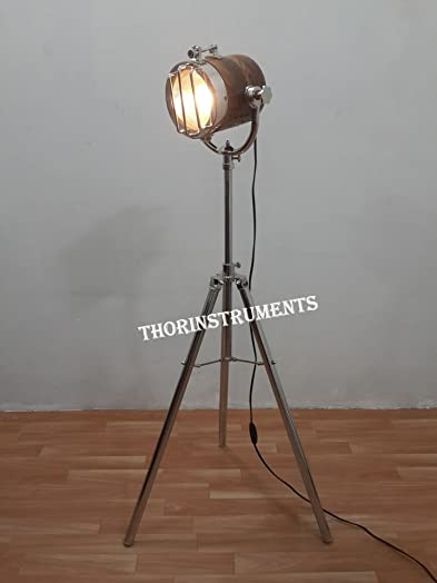 Photographers's Marine Wooden Spot Studio Chrome Tripod Low Floor Lamp