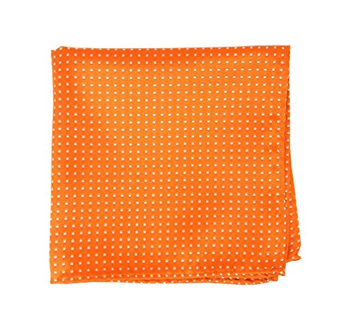 The Tie Bar 100% Woven Silk Tangerine Pindot Patterned Pocket Square by TheTieBar