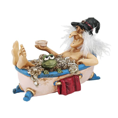 Design Toscano Cauldron of Beauty Bewitching Witch Halloween Decor Figurine Statue, 5 Inch, Polyresin, Full Color