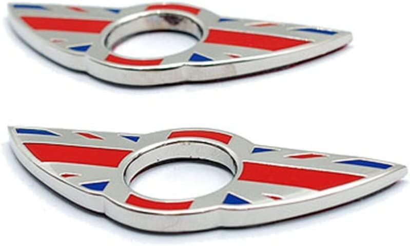 Union Jack Gray HDX 2 pcs Wing Emblem Rings Door Lock Pin Knobs Covers Stickers Badge Trims for Mini Cooper R56 Hatchback R57 Covertible R58 Coupe R59 Roadster