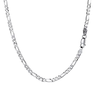 8b830727266 PROSILVER Collier Chaîne Homme Argent Plaqué Or Blanc Link Chain Maille  Figaro 1+3 55cm
