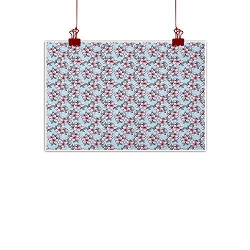 Box Garden Oriental Music - warmfamily Wall Art Painting Print Cherry Blossom,Fresh Floral Garden Theme Springtime Oriental Nature Ornaments, Pale Blue Pink Grey 24