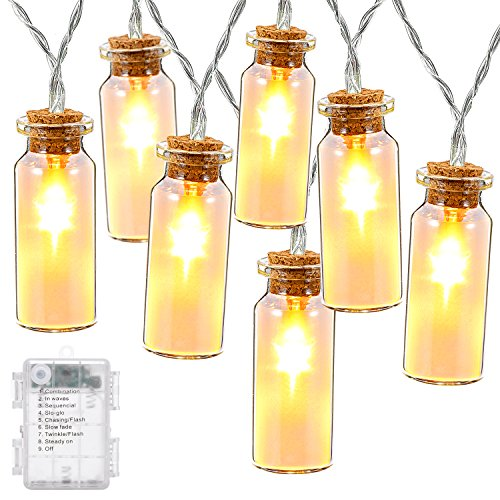 Glass Jar String Lights, Decornova 7.2 feet 15 LEDs IP44 Waterproof 8 Modes Outdoor LED Fairy String Lights with 3AA Battery Box, Warm White