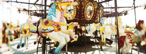 (Walls 360 Peel & Stick Wall Murals: Close Up of Carousel Horses Coney Island)