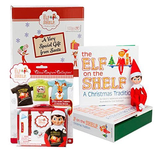 Elf on The Shelf Blue Eyed Boy with Official 3pc T-Shirt Outfit Collection - Direct from North Pole in Limited Edition Santa Gift Box -