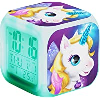Unicorn Digital Alarm Clocks for Girls, LED Night Glowing Cube LCD Clock with Light Children Wake Up Bedside Clock…