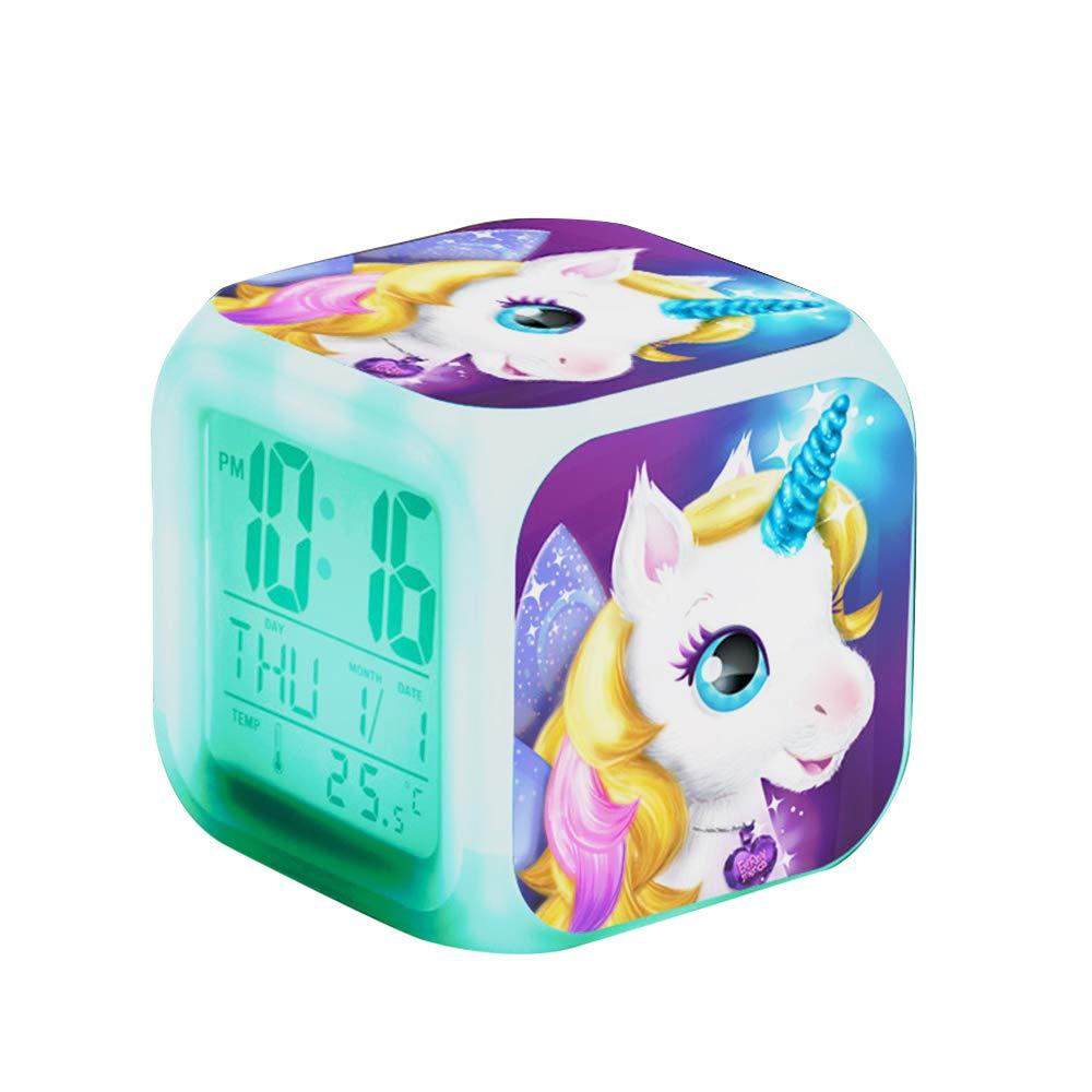 Cube LCD LED de nuit brillante avec enfants l/égers R/éveillez-vous lhorloge de chevet Cadeaux danniversaire pour les enfants Femmes Chambre adulte 1 R/éveils num/ériques Licorne pour les filles