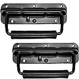 Set of 2 Speaker Cabinet Handles Surface Mount Spring Loaded PA Flip Black Metal Handle 5 9/16\