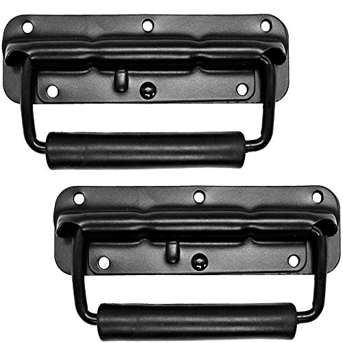 Loaded Speaker Cabinet - Set of 2 Speaker Cabinet Handles Surface Mount Spring Loaded PA Flip Black Metal Handle 5 9/16