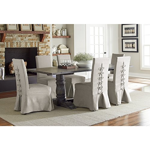 Rectangular Trestle Dining Table (Complete Dining Table in Dove Gray)