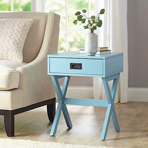 Chairside Table Square Wood with Drawer Chest & Open Shelf Sofa Couchside TV Coffee Accent End Table Turquoise Modern Furniture for Living Room Bedroom Office & e-Book by jn.widetrade ()