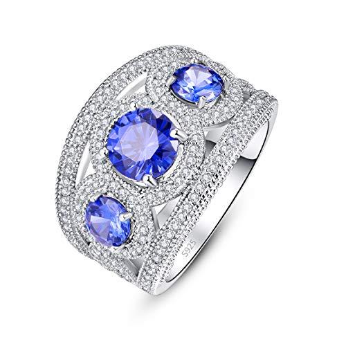 PAKULA 925 Sterling Silver Women Simulated Tanzanite 3 Stone Band Thumb Ring Size 9 (Tanzanite Rings White Gold)