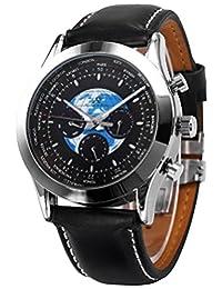 KS Luxury Men's Dress Diamond Black Automatic Mechanical Date Day Leather Watch KS088