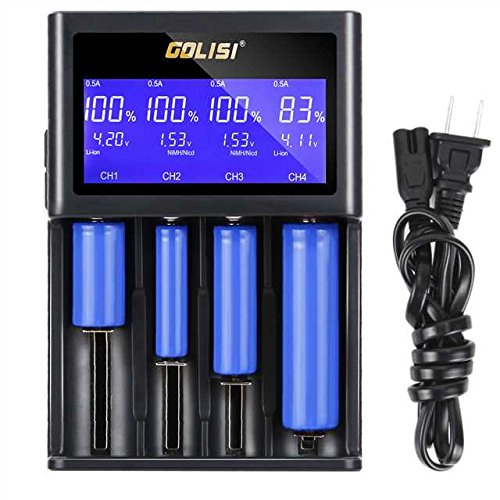 Bingogous Universal Battery Charger with Large LCD Display Smart Battery Charger for Rechargeable 18650 26650 22650 18350 17670 16340 14500 Li-ion Batteries, AAAA AAA AA A SC C Ni-mh/Ni-cd Batteries by Bingogous (Image #8)
