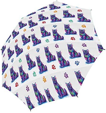 Watercolor Mini Black Cats Semi-Automatic Foldable Umbrella