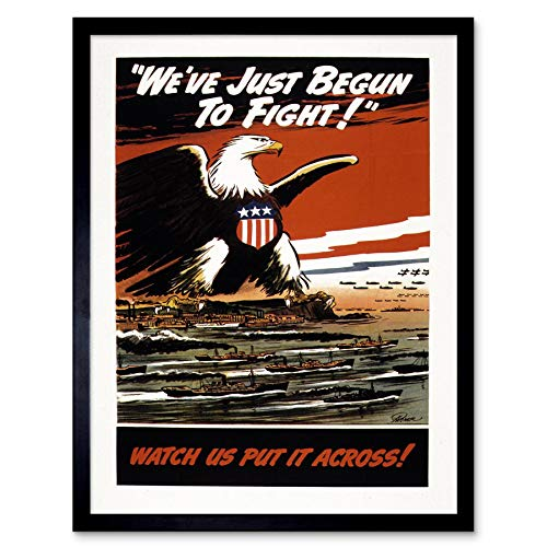 (Wee Blue Coo Propaganda War WWII USA American Eagle Navy Air Force Art Print Framed Poster Wall Decor 12x16 inch)