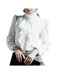 SODIAL(R) Women Luxury Long Sleeve Stand Collar Ruffle T-shirt Blouse White XL